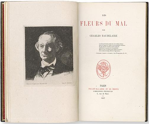 Baudelaire, Charles, 1821-1867, Les fleurs du mal / par Charles Baudelaire, Paris : Poulet-Malassis et De Broise, 1857, title page and frontispiece, Heineman 40