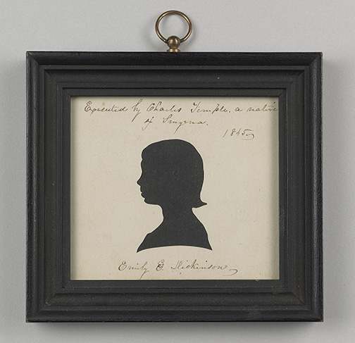 Charles Temple, Silhouette of Emily Dickinson, 1845, Amherst College Archives & Special Collection, L2016.95.48