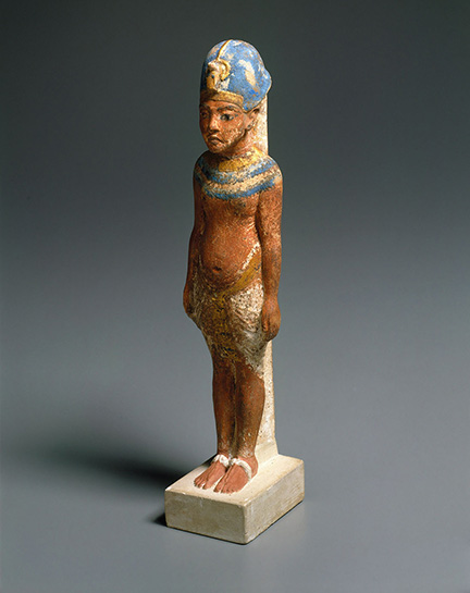 Amarna King, circa 1352-1336 B.C.E. Limestone, paint, gold leaf, 8 ? x 1 ? in. (21.3 x 4.8 cm). Gift of the Egypt Exploration Society, 29.34. (Photo: Brooklyn Museum)