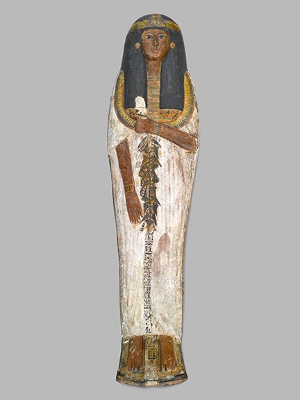 Coffin of the Lady of the House, Weretwahset, Reinscribed for Bensuipet Containing Face Mask and Openwork Body Covering, circa 1292-1190 B.C.E. Wood, painted (fragments a, b); Cartonnage, wood (fragment c; cartonnage (fragment d) , 37.47Ea-b Box with Lid in place: 25 ⅜ x 19 ¾ x 76 ⅛ in. (64.5 x 50 x 193.5 cm). Charles Edwin Wilbour Fund, 37.47Ea-d. (Photo: Sarah DeSantis, Brooklyn Museum)