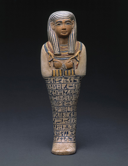 Shawabti of the Lady of the House Sati, circa 1390-1352 B.C.E. Faience, Height 9 ? in. (25 cm). Charles Edwin Wilbour Fund, 37.124E. (Photo: Brooklyn Museum)