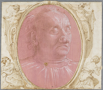 Domenico Ghirlandaio (Italian, 1449-1494), Portrait of an Old Man, ca. 1490. Silverpoint and point of the brush, heightened with white on pink prepared paper. 28.8 x 21.4 cm. Frame dims: 64 x 66cm.