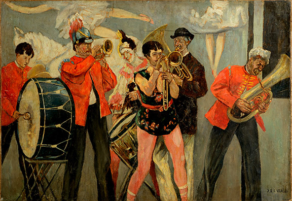 10-seurats-circus-sideshow_raffaelli_saltimbanques-the-sideshow-orchestra_private-collection