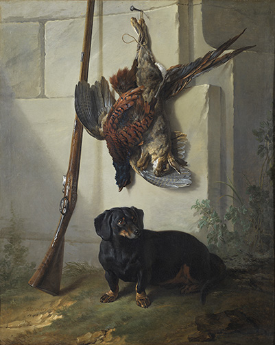 Jean-Baptiste Oudry, The Dachshound Pehr with Dead game and Rifle. Oil on canvas, 135 x 109 cm. Frame dims: 165 x 140 x 13 cm.