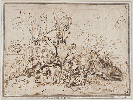Nicolas Poussin, The Nourishment of Jupiter. Pen and brown ink, 17.4 x 24.1 cm.