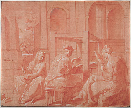 Francesco Primaticcio, Alcytoe and her Sisters. Pen and red ink, red wash, heightened with white, 25.2 x 30.7 cm.