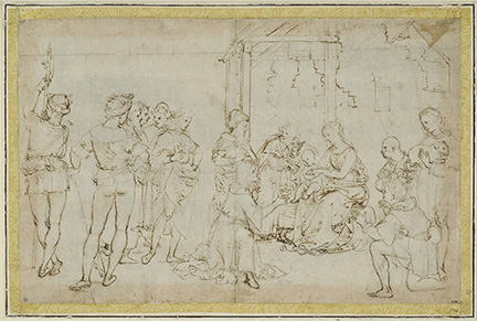Rafael (Raffaello Sanzio), The Adoration of the Magi and Shepherds. Pen and brown ink on paper. 27.2 x 42 cm. Frame dims: 50 x 65 cm.