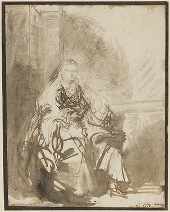 Rembrandt Harmenszoon van Rijn (Dutch, 1606-1669), Study for the etching of 1635, the Great Jewish Bride, ca 1635. Nationalmuseum, Stockholm NMH 1992/1863.