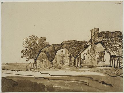 Rembrandt Harmenszoon van Rijn,Three Cottages by a Road. Pen and brown ink, brown wash, corrections with white body colour, 18.2 x 24.2 cm. Frame dims: 47 x 60 cm.