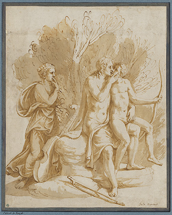 Giulio Romano, Apollo with a Lover. Pen and brown ink, brown wash. 28.9 x 23.1 cm. Frame dims: 60 x 47 cm.