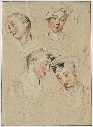 Antoine Watteau (French, 1684-1721), Four studies of a young woman's head. Nationalmuseum, Stockholm NMH 2836/1863.