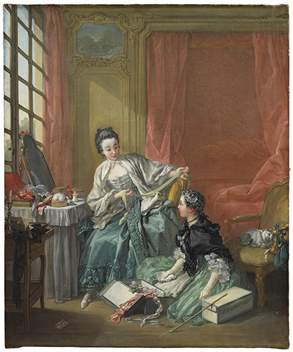 François Boucher, The Milliner. Oil on canvas, 64 x 53 cm. Frame dims: 90 x 80 x 12 cm.