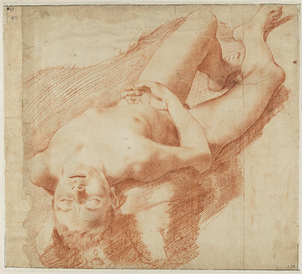 Annibale Carracci (1560-1609), Nude Study of a young man on his back, ca. 1580-90. Nationalmuseum, Stockholm NM 769/1863.