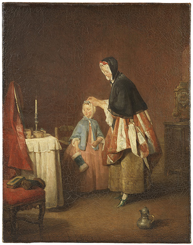 Jean Siméon Chardin, The Morning Toilette. Oil on canvas, 49 x 39 cm. Frame dims: 74 x 65 x 11 cm.