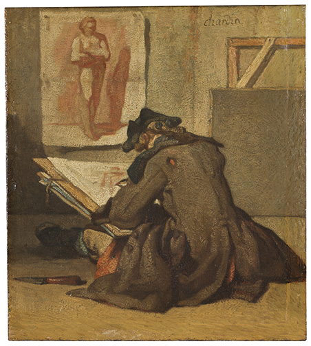 Jean Siméon Chardin, Young Student Drawing. Oil on wood, 19.5 x 17.5 cm. Frame dims: 31 x 29 x 4 cm.