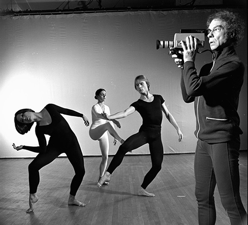 "Merce Cunningham and company performing ""TV Rerun"" at Westbeth in January 1975. (Photo by Jack Mitchell/Getty Images)"
