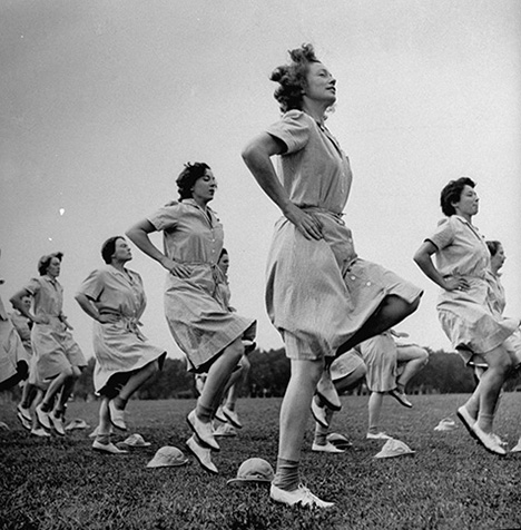 WACs doing daily calisthenics exercises.