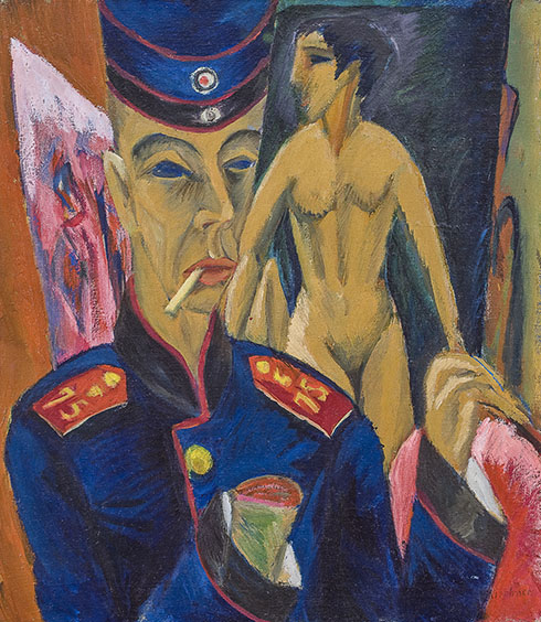 9. Ernst Ludwig Kirchner, Self-Portrait as a Soldier, 1915. Allen Memorial Art Museum
