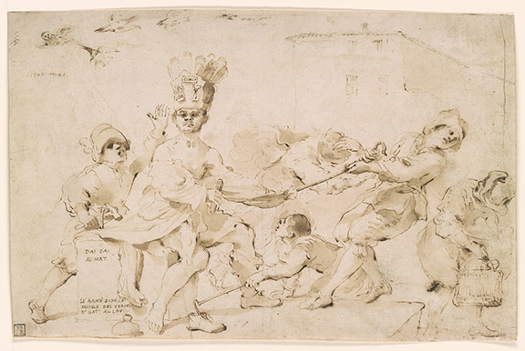 Guercino, 1591-1666. Mocking of the Village Madman [drawing]. ca. 1619. I, 101