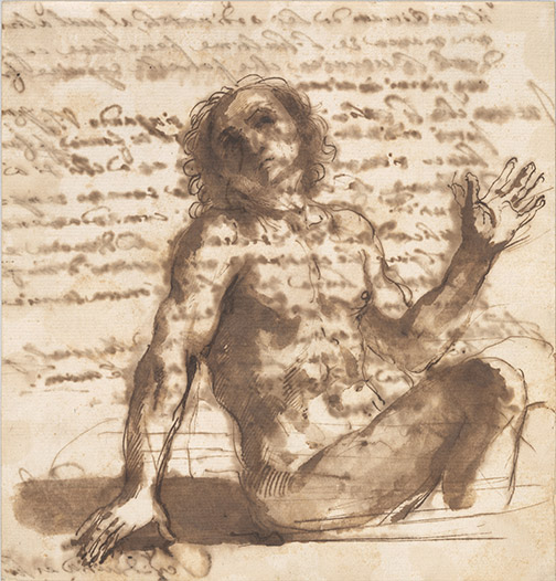 Guercino, 1591-1666, Seated Nude Man  17th century,  recto, 1970.12