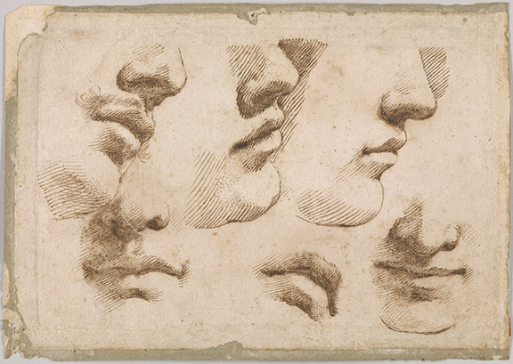 Guercino, 1591-1666.  Studies of Mouths and Noses, 17th century, recto, 2016.17:1