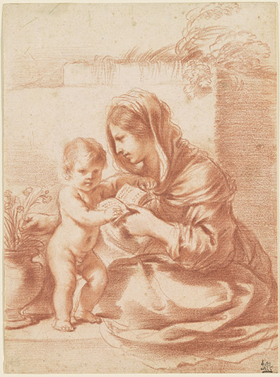 Guercino, 1591-1666. Virgin and Child with a Book and a Pot of Pinks [drawing]. 17th century. IV, 168g