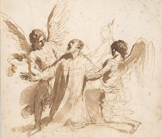 Guercino, 1591-1666, Vision of St. Philip Neri  1646-47, recto, 1977.49
