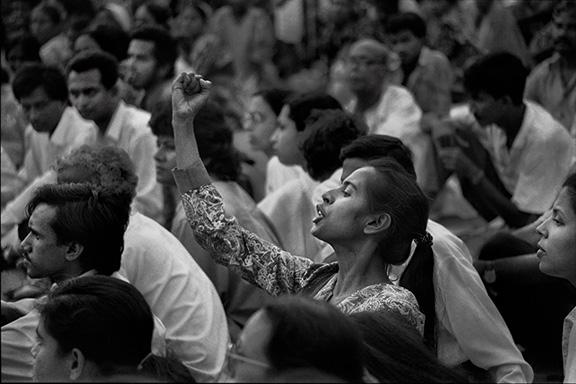 Smriti Azad at Protest at Shaheed Minar