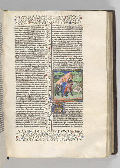 MS M.394, fol. 114r, Naomi and Elimelech journey to Maob, Moulins, Guyart des, approximately 1251-approximately 1297, Bible historiale, Paris, France, ca. 1415.