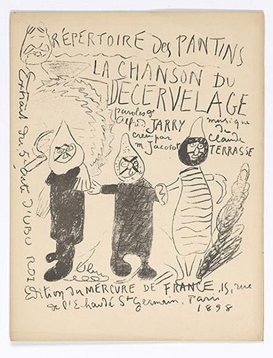 Terrasse, Claude, 1867-1923.   Chanson du decervelage (tude) : chantee par Jacotot, au 5e. acte d'Ubu roi /  Paris : Edition du Mercure de France, 1898, front cover, PML 197091
