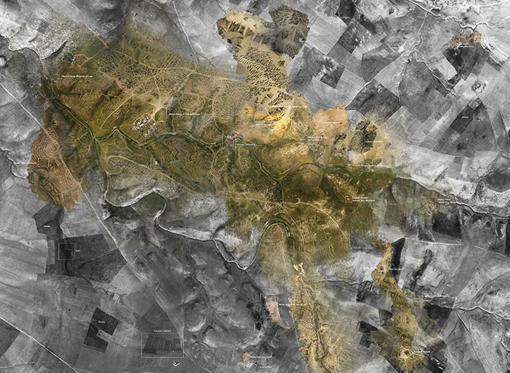 A composite of Royal Air Force aerial photography from 1945 and 'community satellite' point clouds taken in 2017