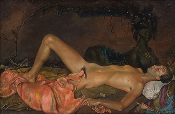 Schirn_Presse_Fantastische Frauen_Leonor Fini_Chtonian Deity watching over the Sleep of a Young Man_1946.jpg;jsessionid=514EA47497260948FE85B400B65F17B8